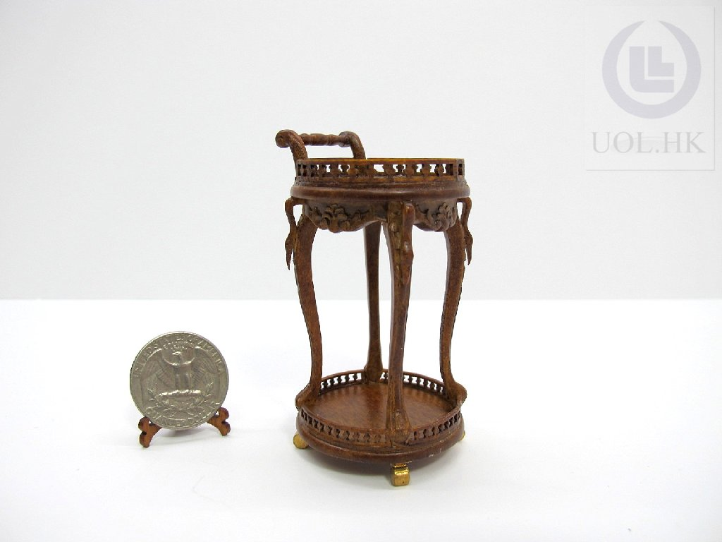 Wooden 1:12 Scale Miniature Tea Trolley For Doll House