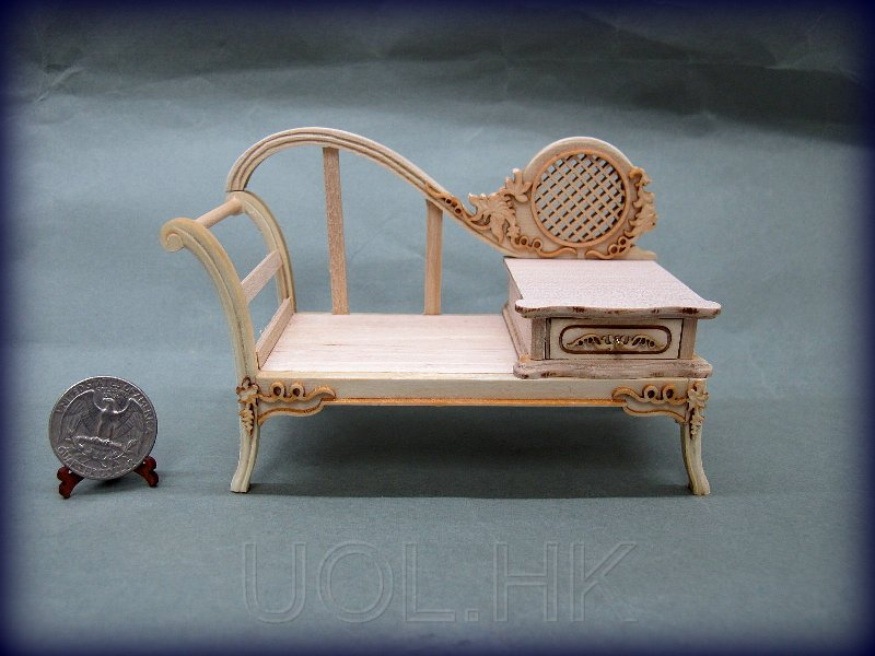 1:12 Scale Doll House Miniature Telephone Bench --Unfinished