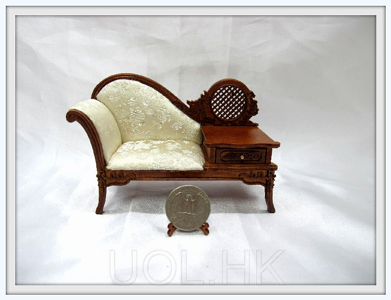 1:12 Scale Doll House Miniature Walnut Telephone Bench