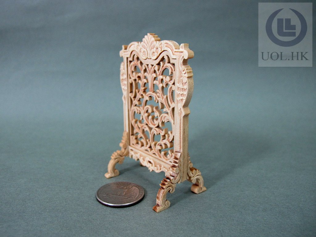 1:12 Scale Miniature Wooden Fire Place Screen --Unpainted