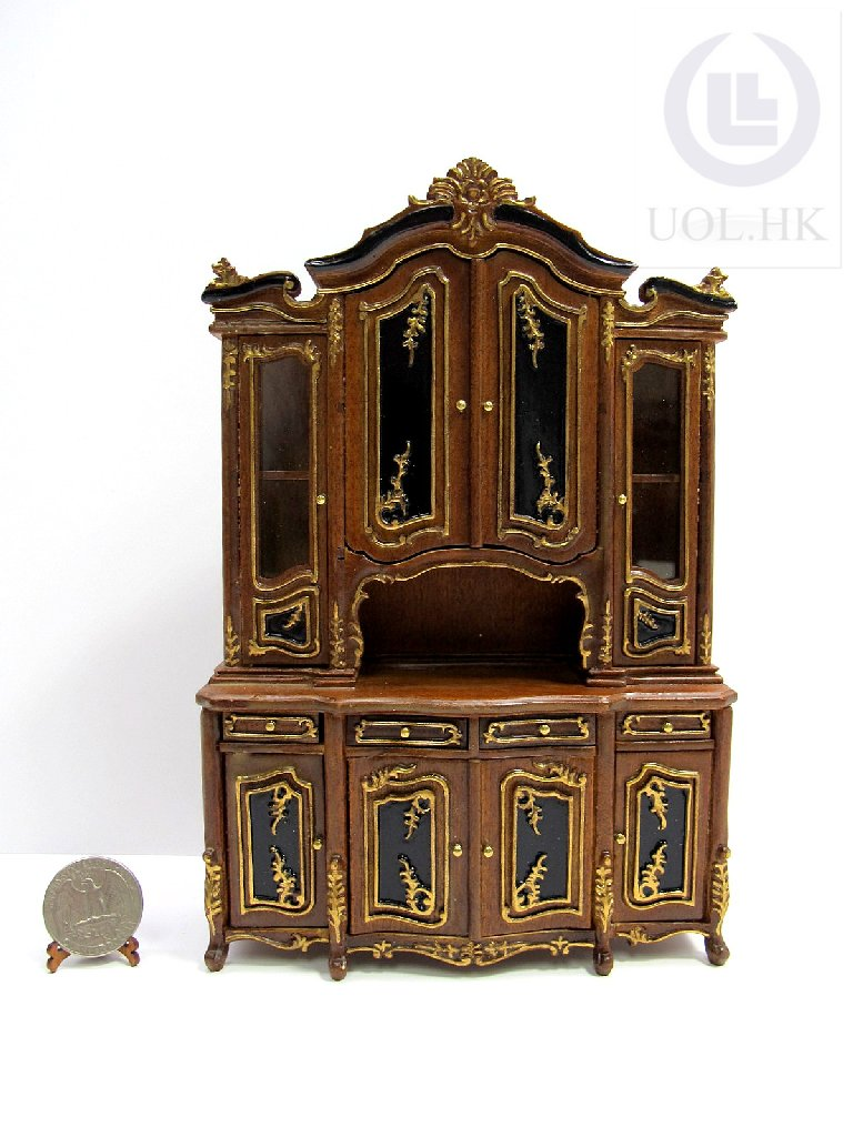 "Miniature 1"" Scale Doll House France Wood Cabinet"