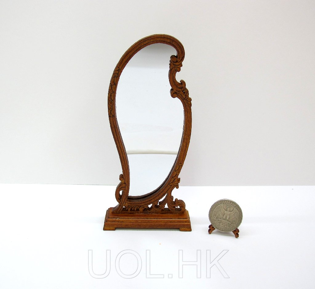 Wood Carved Miniature 1/12th Scale Doll House Standing Mirror