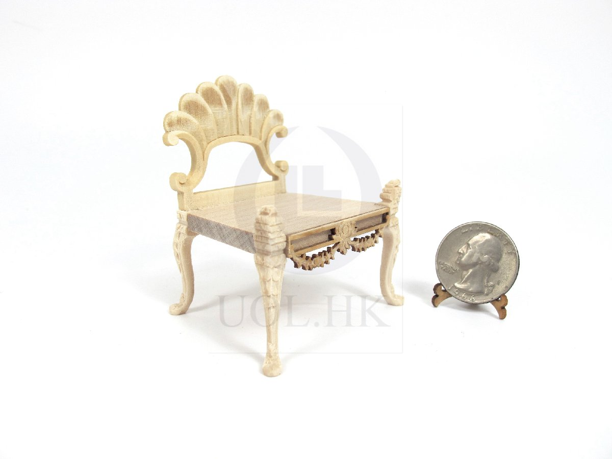 1:12 Scale Miniature Wooden Scallop Chair For Doll House [UF]
