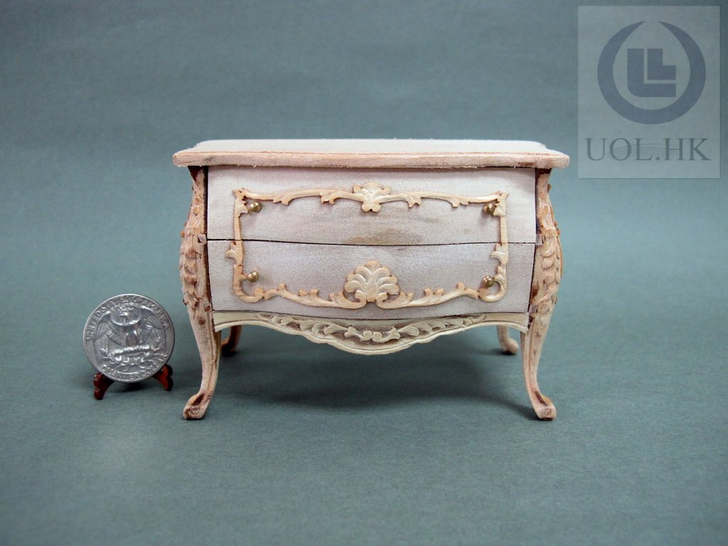 Miniature 1:12 Scale Doll House Wooden Bombay Chest[Unpainted]