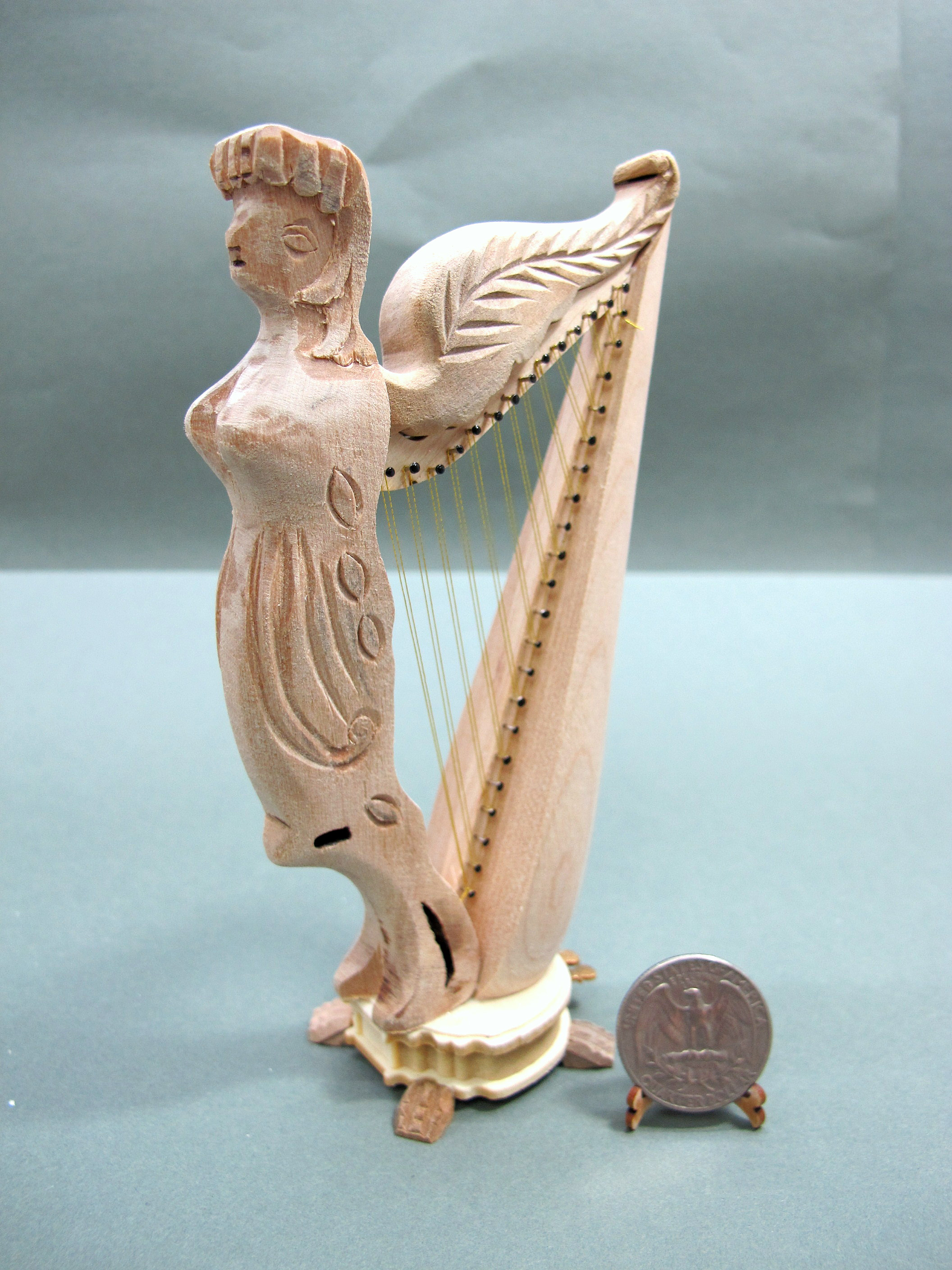 Wood Carved 1:12 Scale Unpainted Angel Harp For Dollhouse
