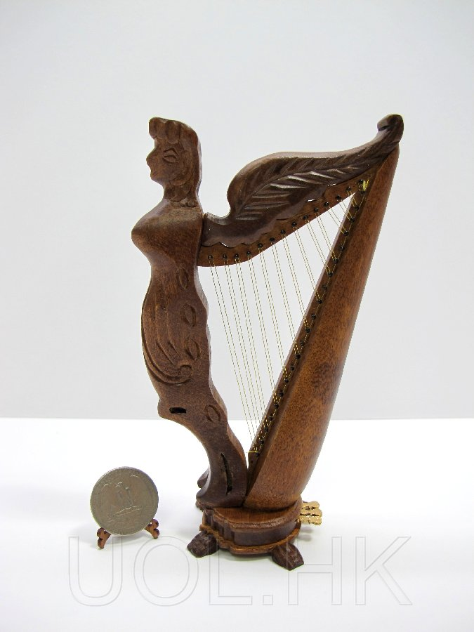 1:12 Scale Miniature Doll House Angel Harp Finished In Walnut