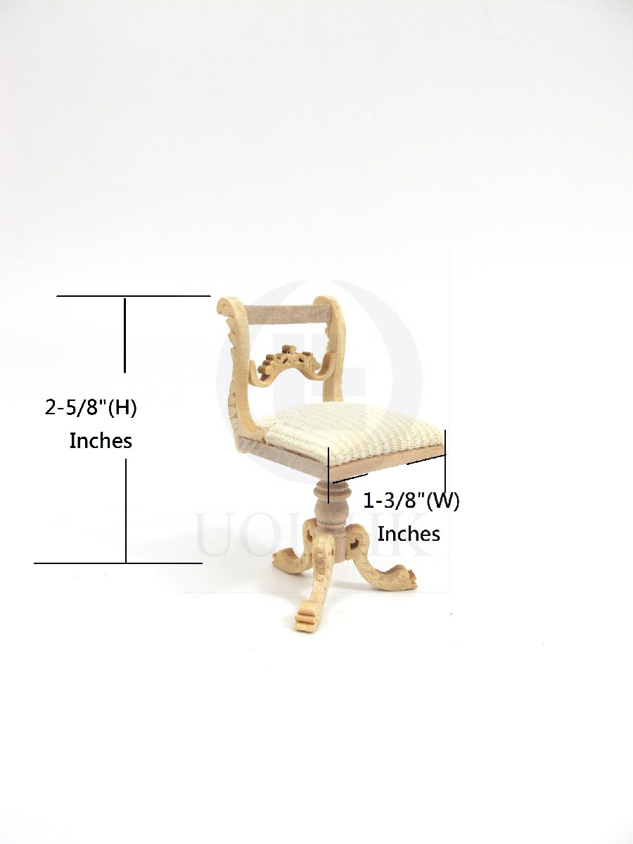 1:12 Scale Doll House Miniature Harp Stool/Chair [Unfinished]