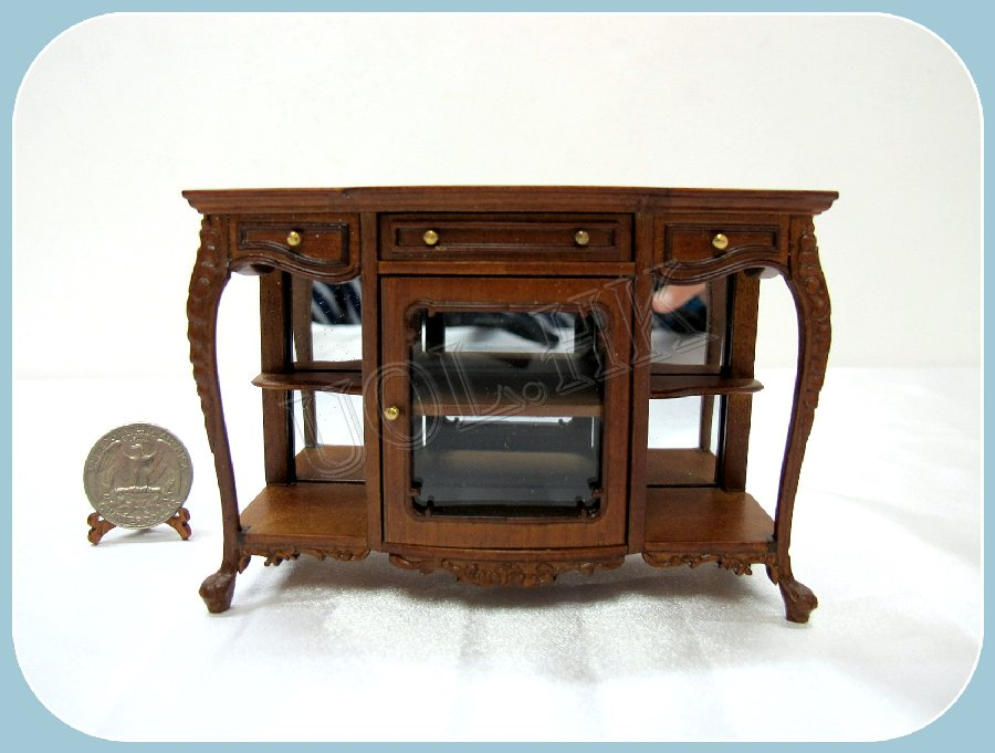 1:12 Scale Of Doll House Walnut Console