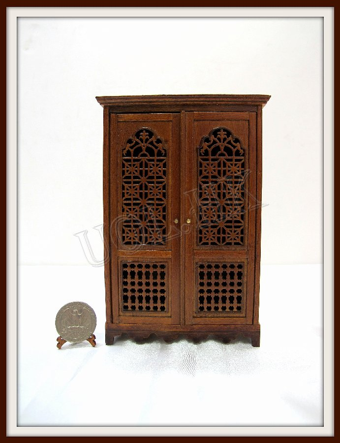 1:12 Scalce Of Doll House Egypt Style Cabinet -Walnut