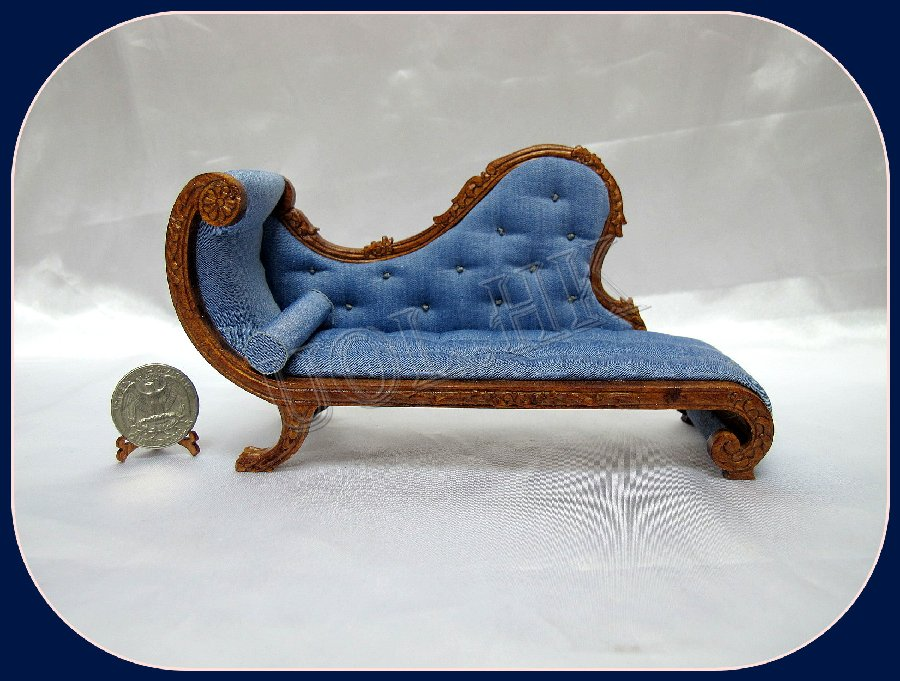 "1"" Scale Chaise with blue seat"