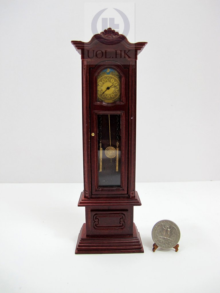 "1""Scale Working Clock for Doll House[Finished In Mahogany]"