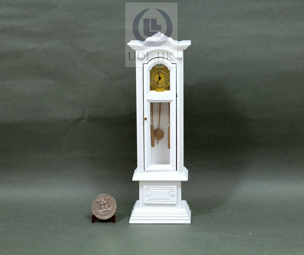 "1""Scale Working Clock for Doll House[Finished in white]"
