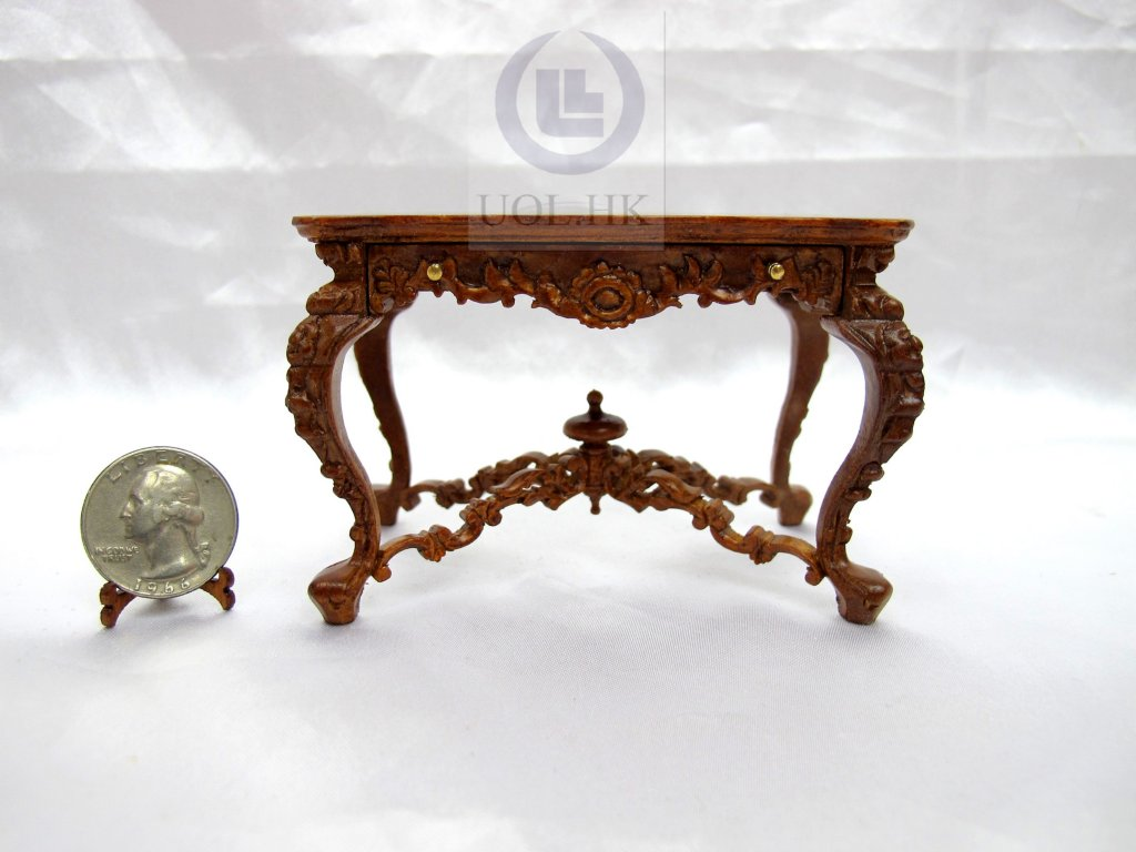 Miniature 1:12 Scale Victorian Carved Desk For Doll House [WN]