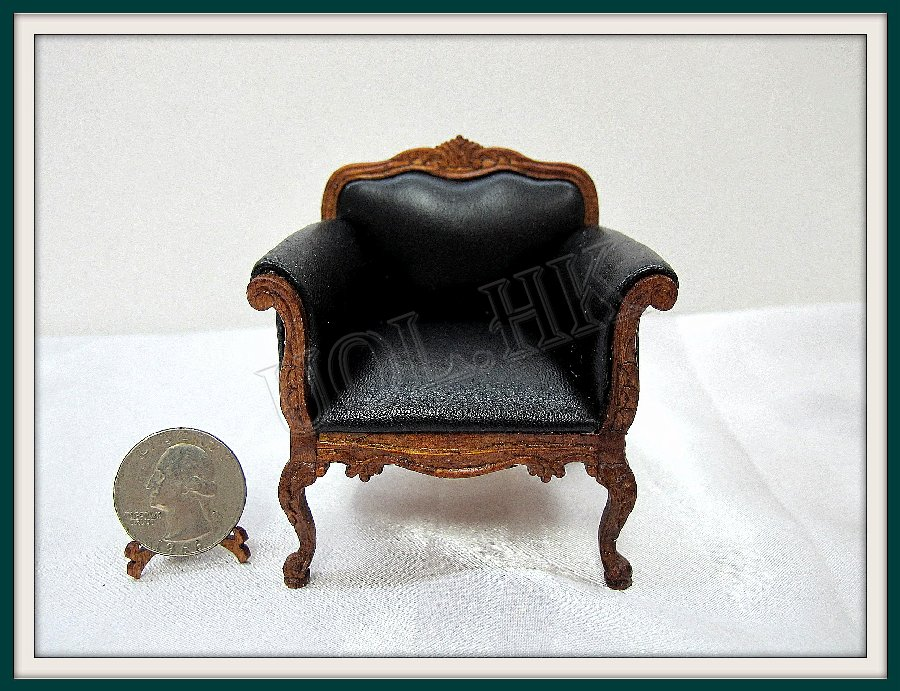 1:12 Scalce Black Leather Close Arm Chair For Doll House
