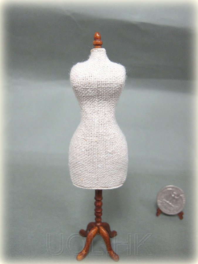 1:12 Scale Miniature  dress form -walnut stand