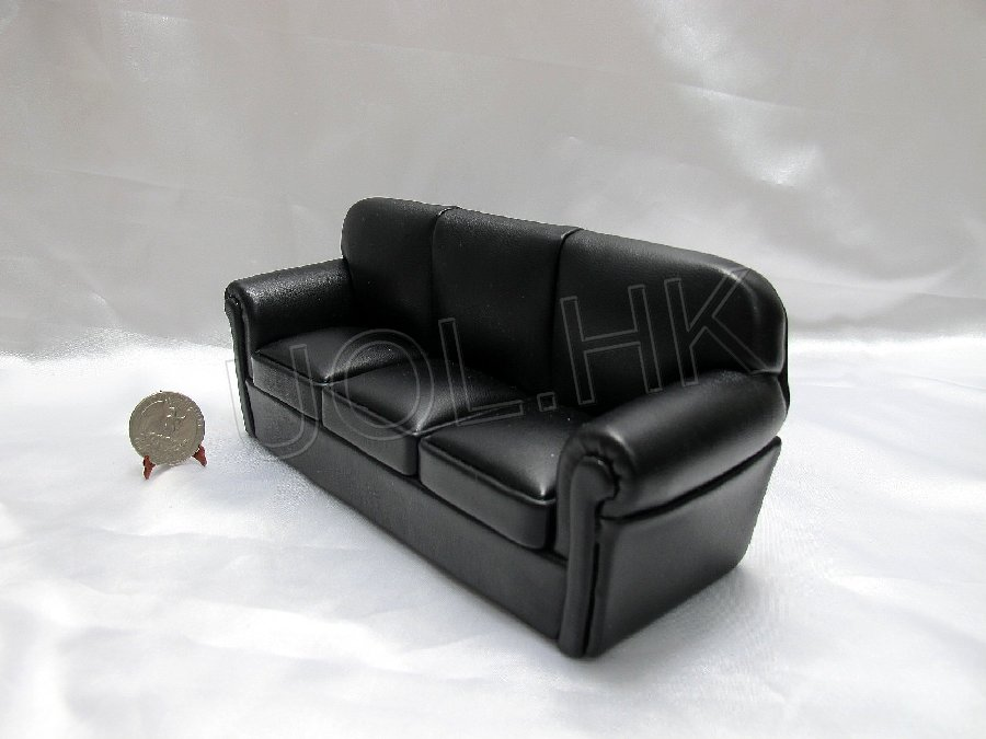 "1""Scale  large modern black leather fabric sofa for doll house"