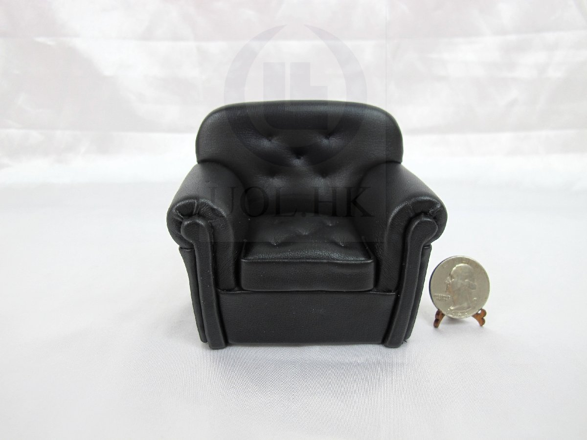 "Miniature1""Scale Modern Black Leather Fabric Chair For Dollhouse"
