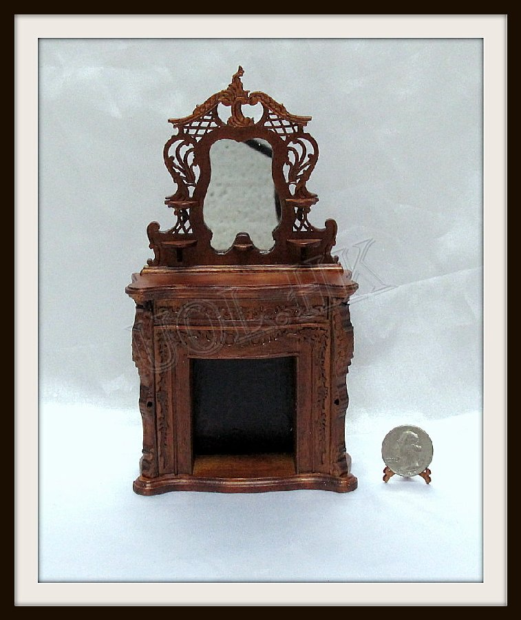 1:12 Scale walnut carved Fire place with mirror