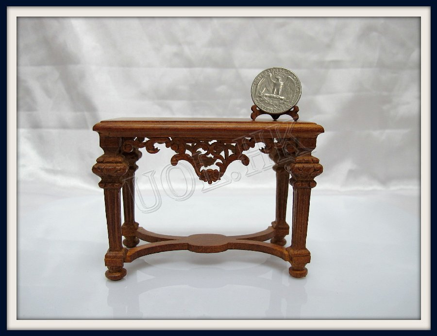 "1""Scale Frenazie Hall Console Finished In Walnut For Doll House"