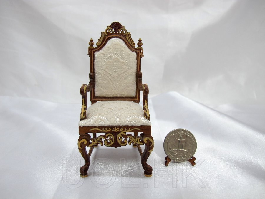 Hand Painted 1:12 Scale Doll House Vanderbilt Desk Chair