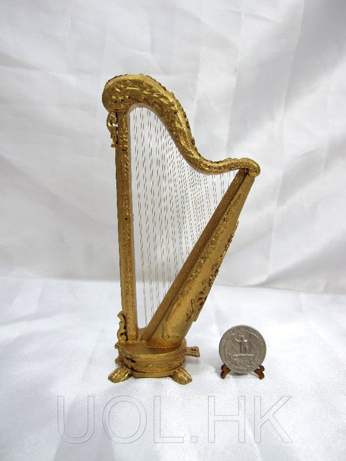 1:12 Scale Of Doll House Harp Finished In Gold