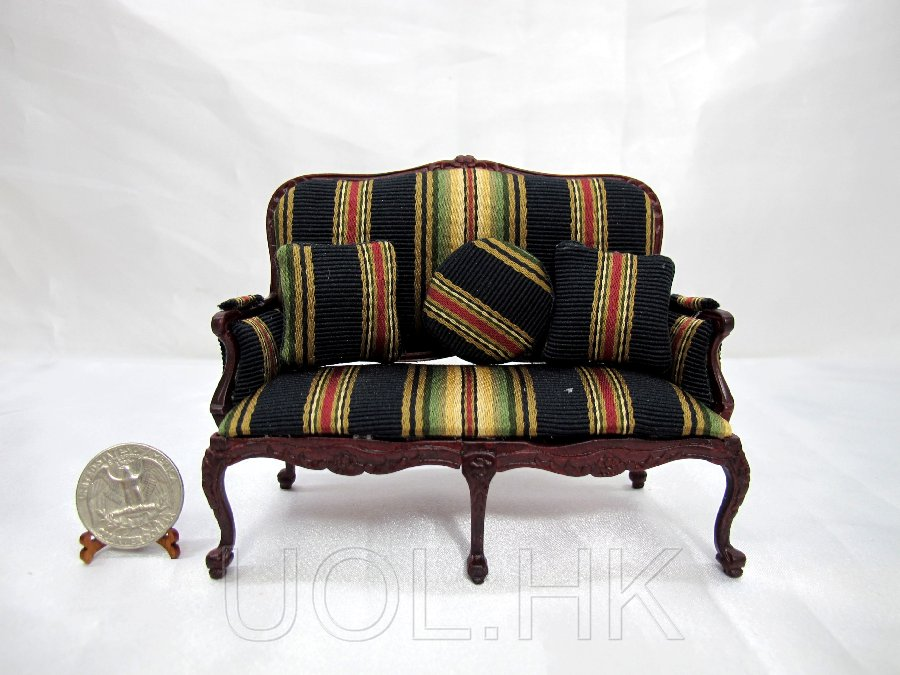 1:12 Scale Doll House Mahogany Couch With 3 Cushions