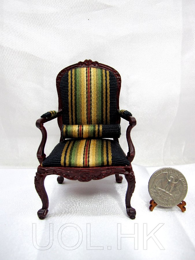 1:12 Scale Doll House Mahogany Chair With Roll Cushion
