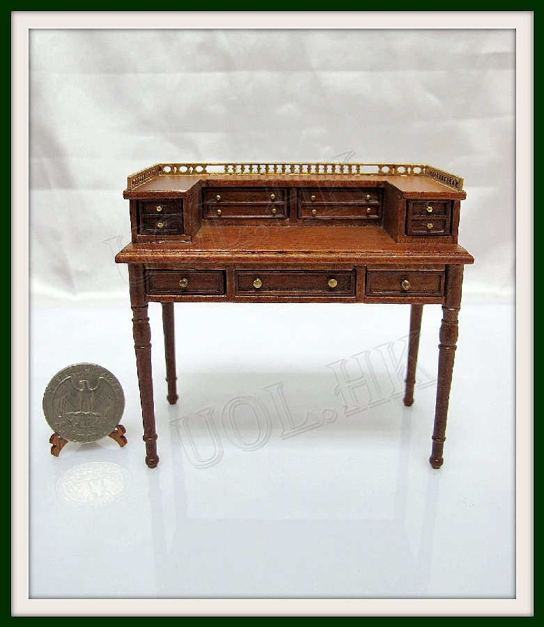 1:12 Scale Doll house Princeton Lady's Desk--Walnut