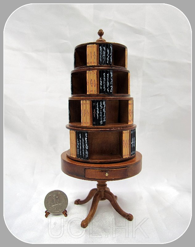 1:12 Scale Miniature Four Tier Revolving Bookcase
