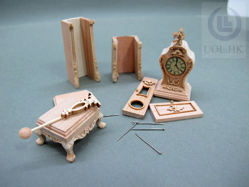 "1"" Scale Doll House Continental Clock[Unfinished self -assemble]"