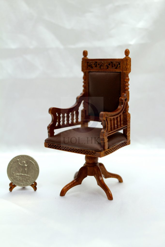 Miniature 1:12 Scale Doll House Library Chair/Desk Chair