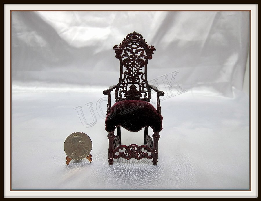 1:12 Scale Mahogany Spectacular Arm Chair For Doll House