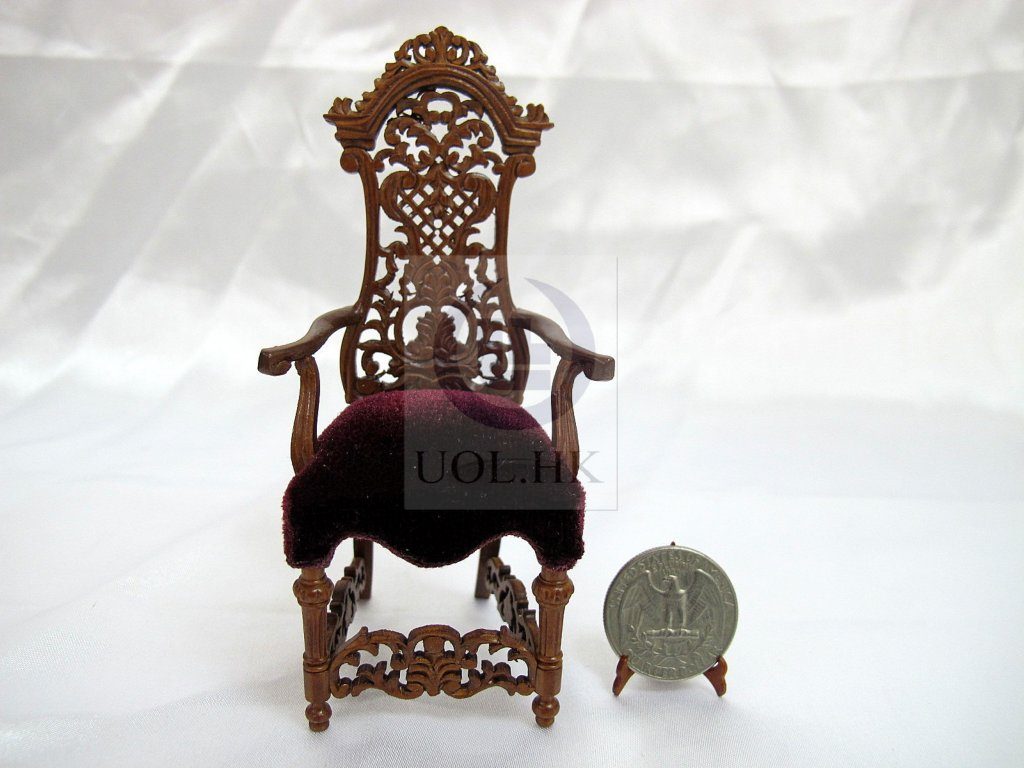 Miniature 1:12 Scale High Back Arm Chair For Doll House[Walnut]