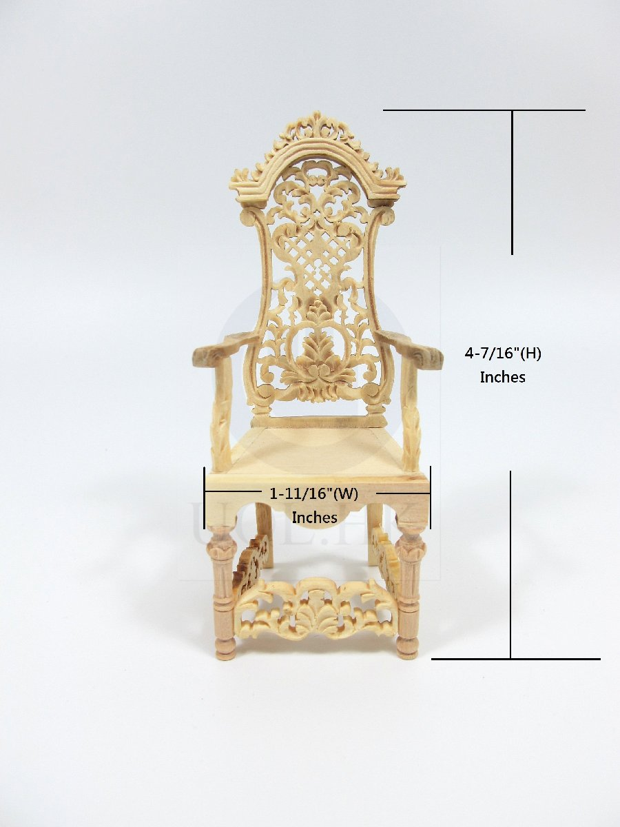 Miniature 1:12 Scale High Back Arm Chair For Doll House [UF]