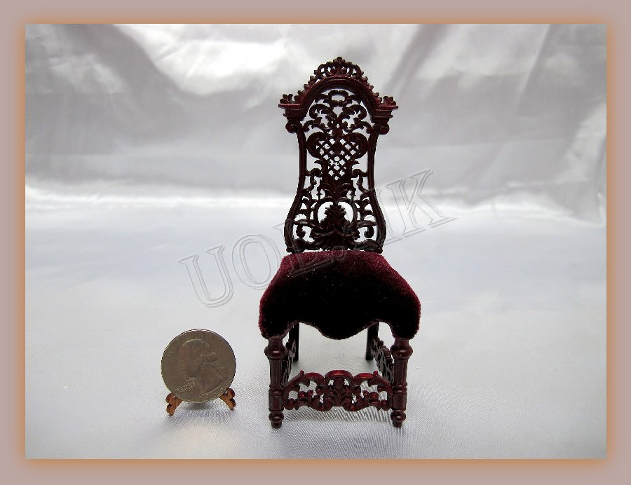 1:12 Scale Mahogany Spectacular Side Chair For Doll House
