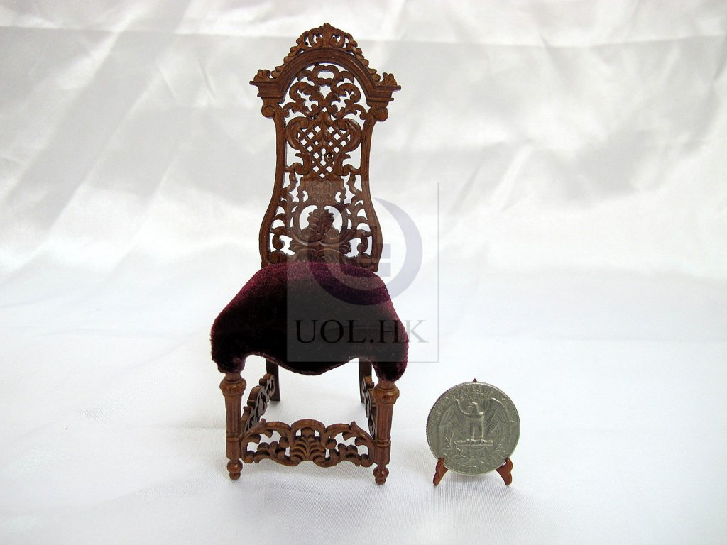 1:12 Scale High Backed Side Chair For Doll House[Walnut]