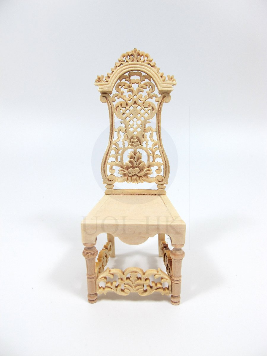 Miniature 1:12 Scale High BackSide Chair For Doll House [UF]