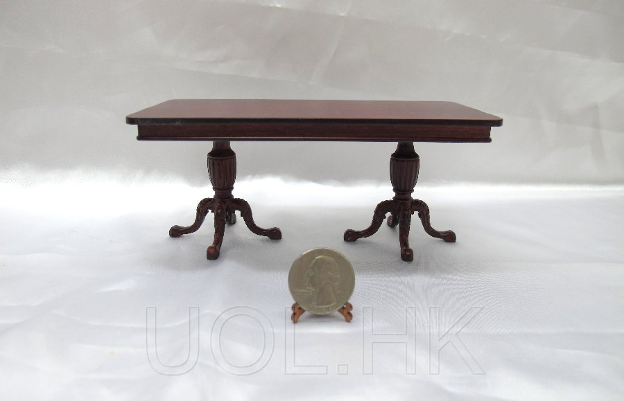 1:12 Scale Miniature Kingston double pedestal dining table-MH