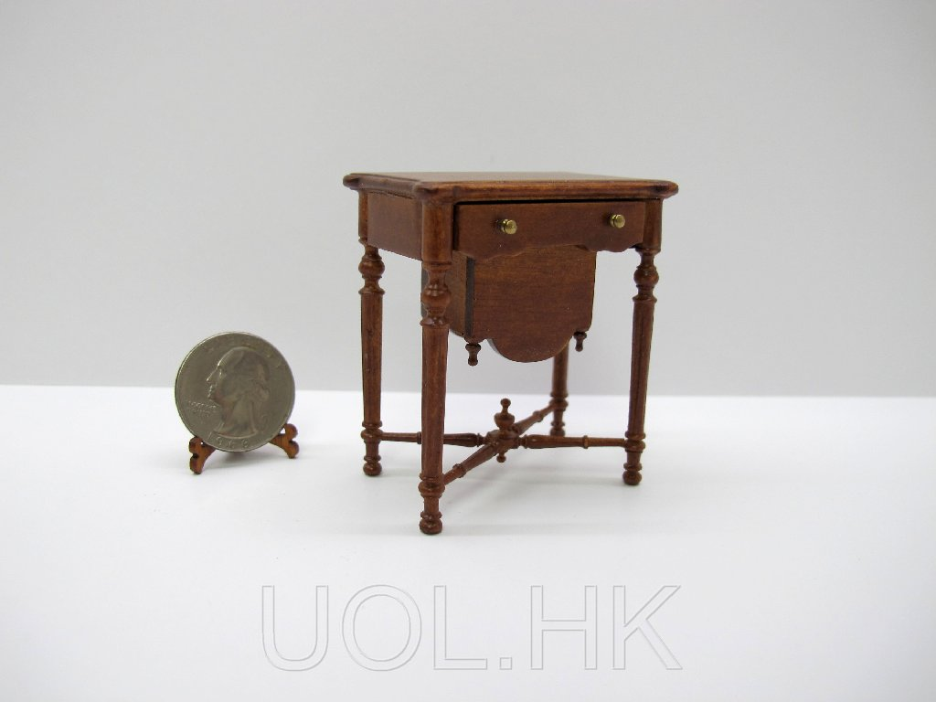"Miniature 1""Scale sewing table for doll house-Finished in walnut"