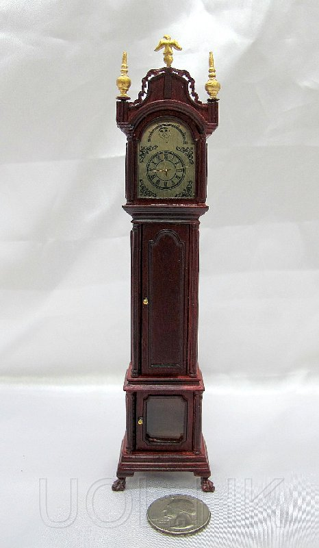 1:12 Scale Doll House Grandfather Clock--Mahogany