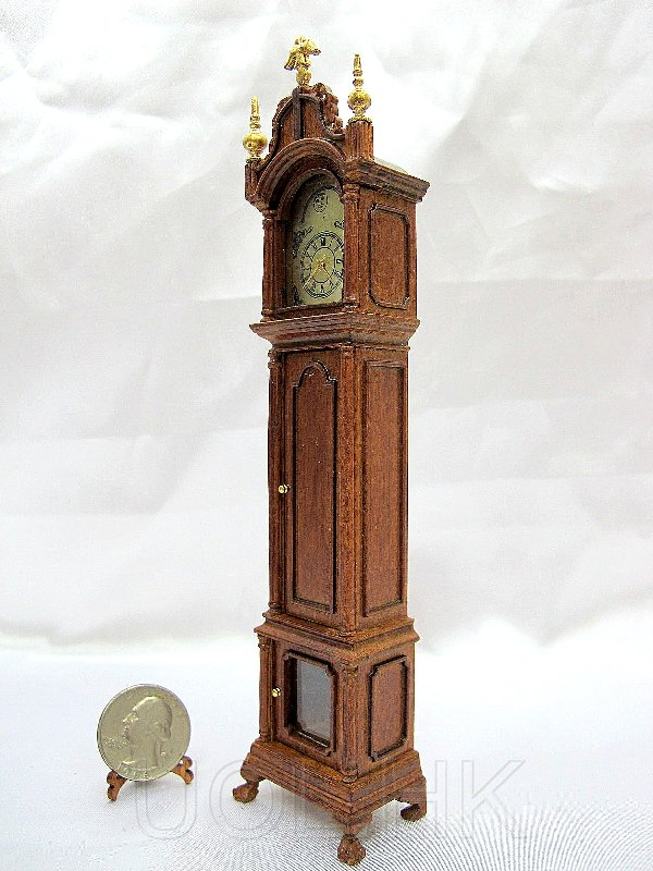 1:12 Scale Doll House Grandfather Clock--Walnut