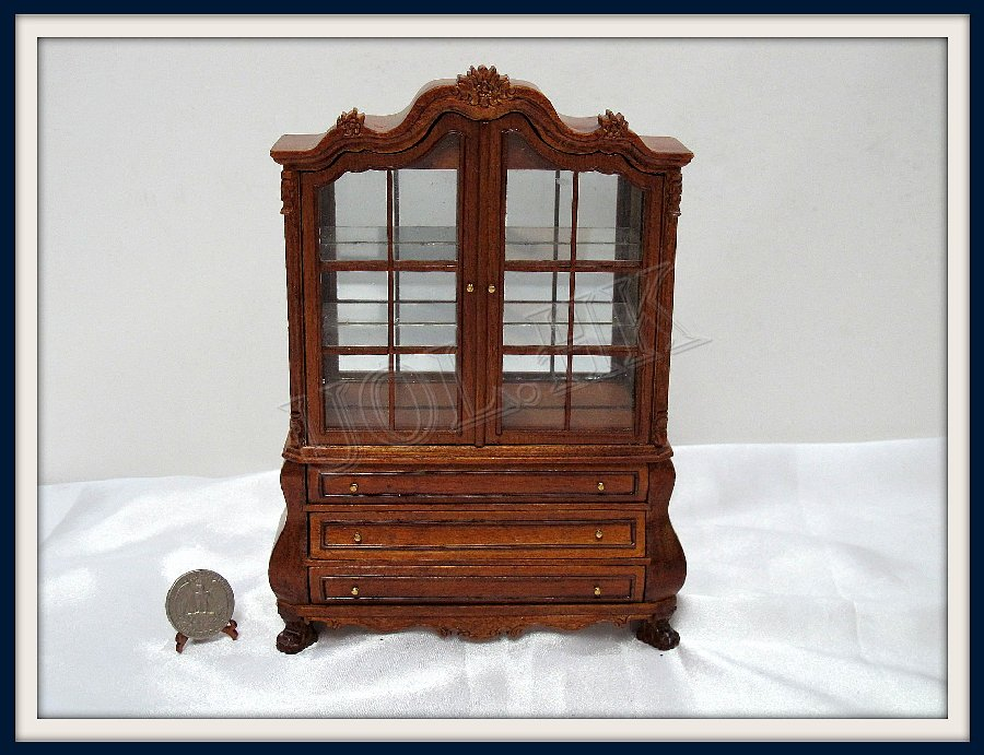 1:12 Scale Curio Cabinet(glass window) For Doll House Miniature