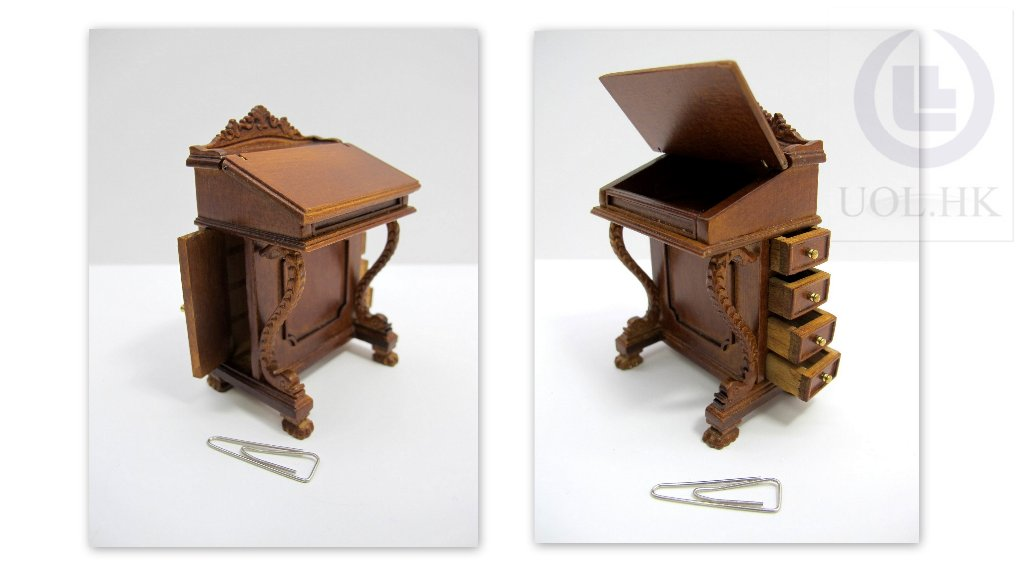 1:12 Scale Wood Carved Davenport Desk For Doll House