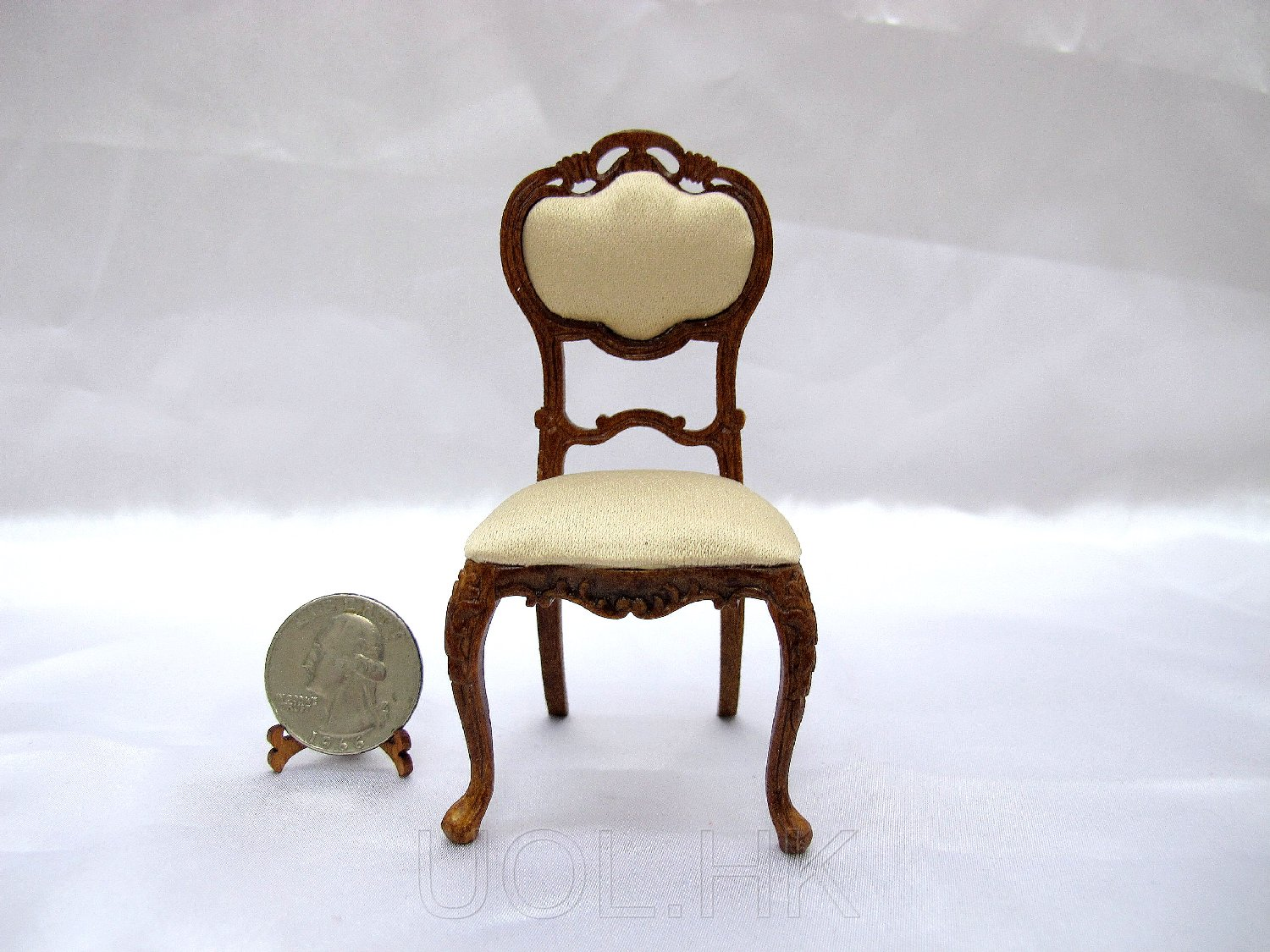 1:12 Scale Miniature Walnut Carved Side Chair For Doll House