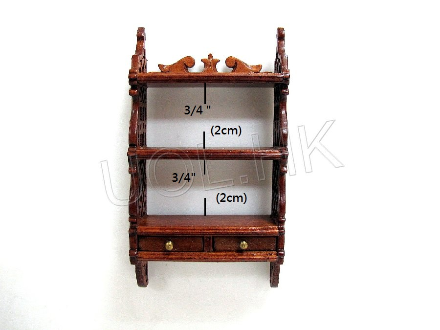 Doll House Miniautre  1:12 Scale Wall Shelf [Finished in walnut]