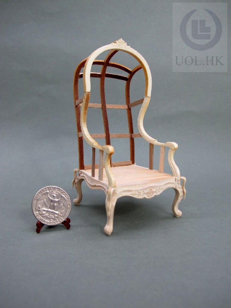 Miniature 1:12 Scale Doll House Hooded Chair Wood Frame