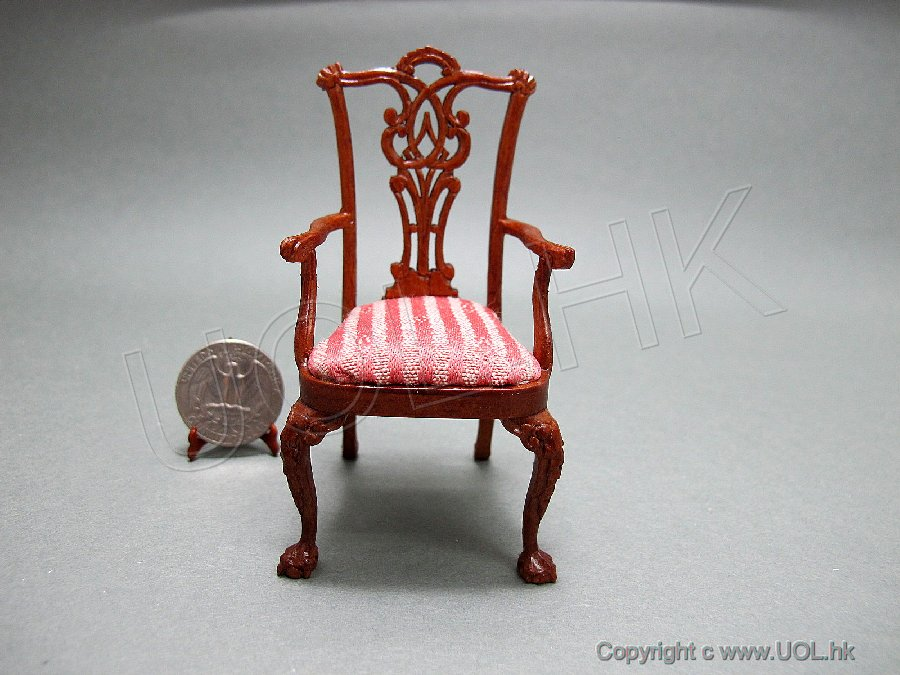 "Miniature 1"" Scale Quincy Arm Chair For Doll House"