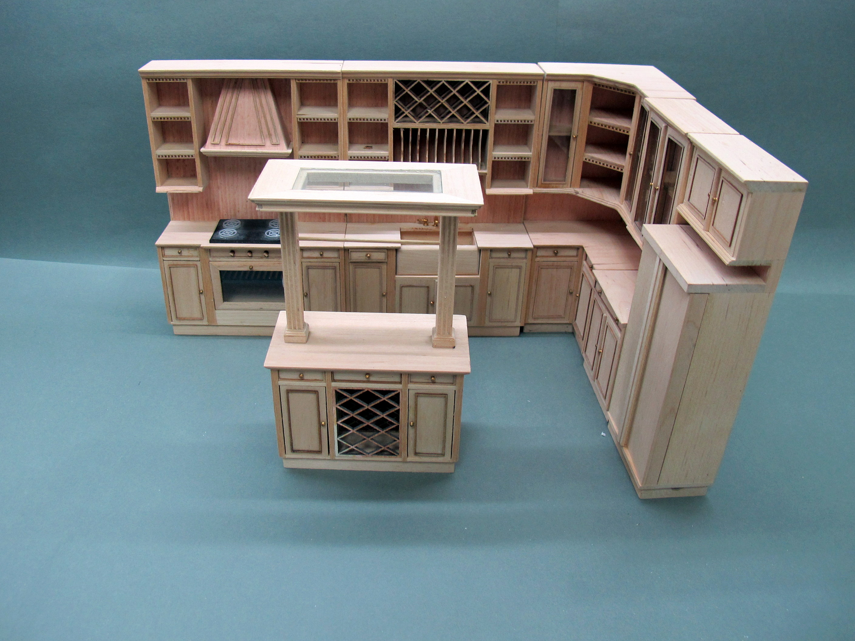 Miniature 1/12th Scale Doll House Kitchen [Unpainted]