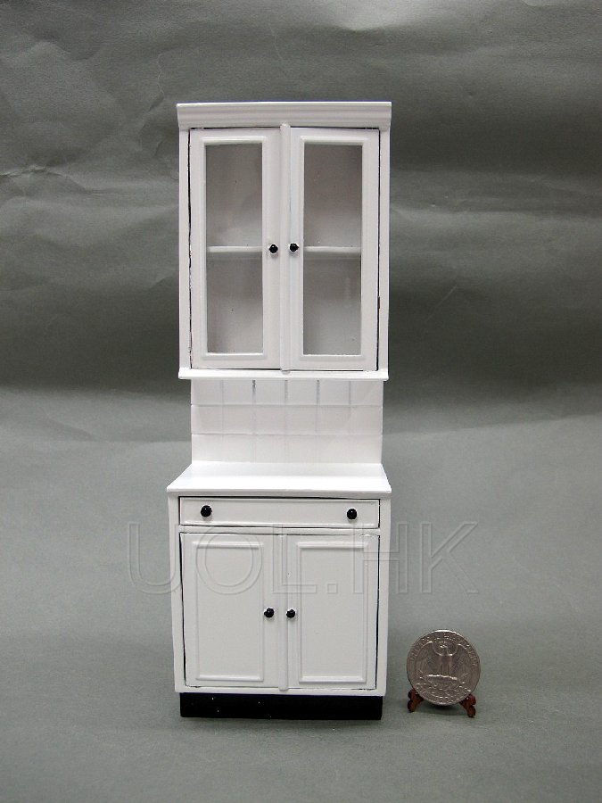 1:12 Scale Doll House White End Cabinet Unit