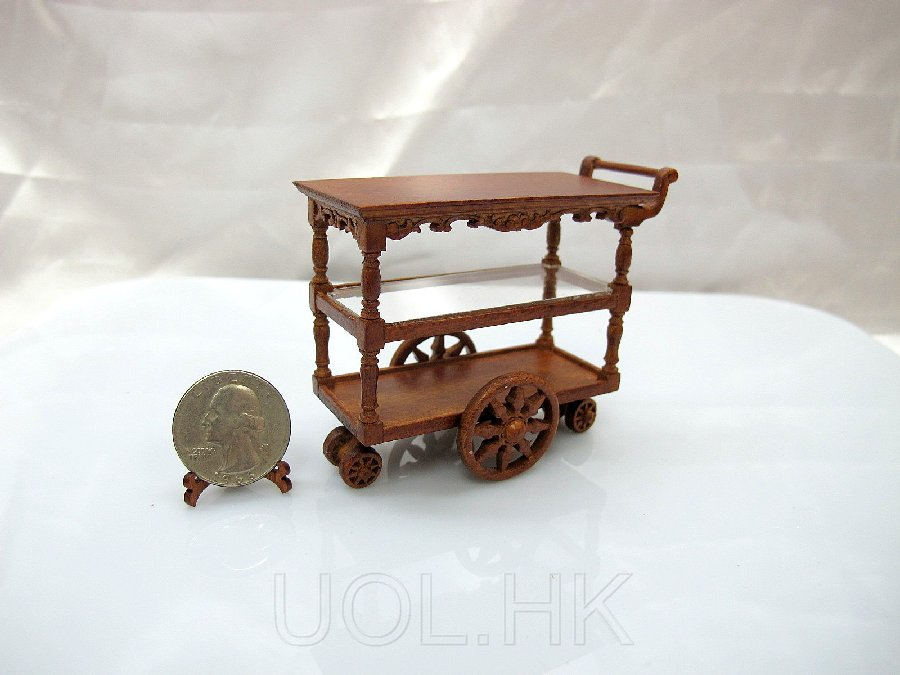 "1""Scale Miniature Wood Carved Tea Cart For Doll House"